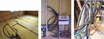 左から。水道用のパイプは冬でも凍らないように、床に断熱材を敷いてから、水とお湯がお互いに熱を奪いあわないように離して設置。トイレのタンクは壁の中に入るタイプ。下水用管はトイレと洗面所用(左グレー)で別サイズを用意。電線は事故のないように3から5色に色分けされている