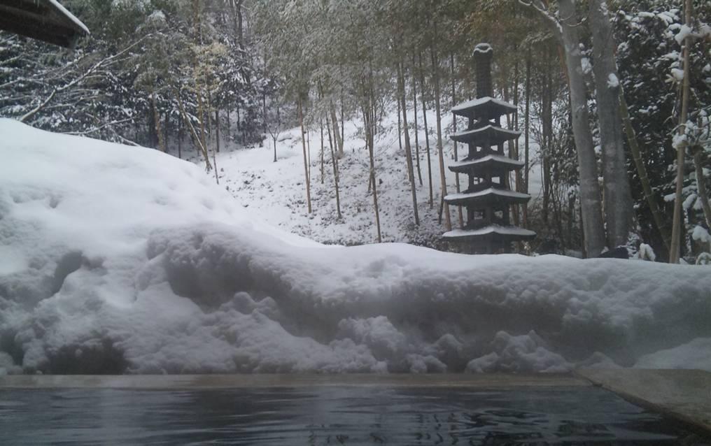 露天風呂から見る雪景色