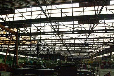 旧三菱重工熊本航空機製作所 組立工場内部