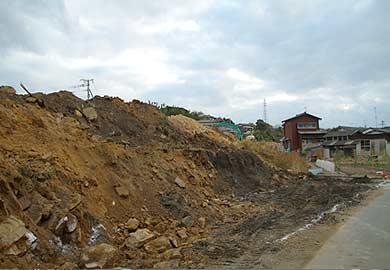 玉名線 築堤跡の工事現場