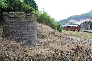 2008年8月1日のJR矢岳駅と給水塔