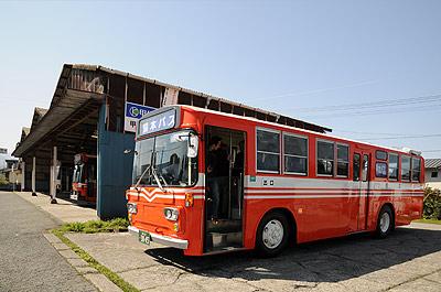 熊本バス ブルドッグで甲佐駅跡にて