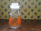 オレンジのお花 ガラス密封保存ポット