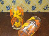 佐々木硝子 黄色とオレンジのお花の大きめタンブラー