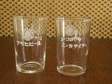 三ツ矢サイダー&アサヒビールロゴのグラス