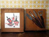 チーズカッティングボードとカトラリ−セット