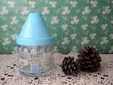 水色屋根のおうち型キャンディポット