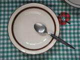 ストーンウェア ブラウンラインのカレー皿 φ20.5cm
