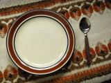 三郷陶器 ネイビーとブラウンラインのカレー&パスタ皿(スプーン付)