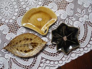 Tachibana 枯れ葉の陶器小皿3点セット