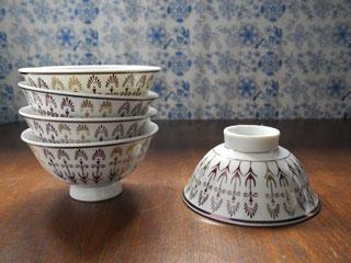 昭和の飾りモチーフ茶碗2客セット