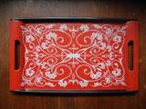 蔦モチーフの樹脂製トレー(赤)W44.7cm