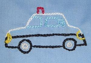 幼稚園 スモッグ 刺繍 パトカー