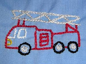 幼稚園 スモッグ 刺繍 消防車