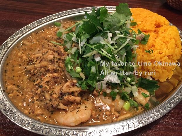 タイ風海老キーマ香味野菜のせ