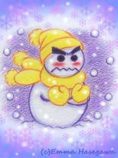 寒がり雪ダルマくん