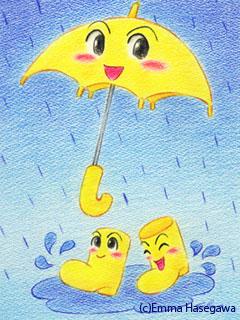 「雨、雨、フレ、フレ♪」ケータイ待受ヴァージョン