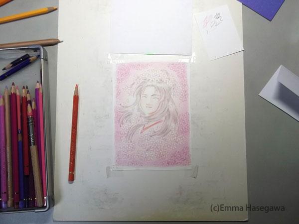 「桜の天女」制作途中