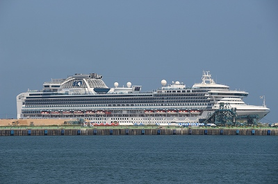 高知新港に停泊中の「DIAMOND PRINCESS」。