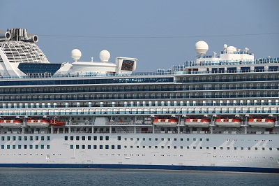 「DIAMOND PRINCESS」の船体中央付近。