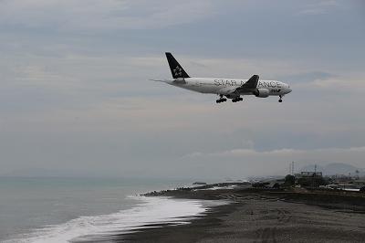 高知新港に停泊中の「OVATION OF THE SEAS」と高知龍馬空港に到着する「STAR ALLIANCE」。