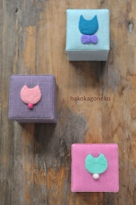 羊毛刺繍 Ring Box - Cats face x3