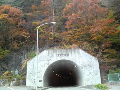 芦川からの帰りにトンネル入口の紅葉