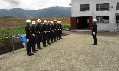 笛吹市消防団本部排水機隊発隊式(H24)