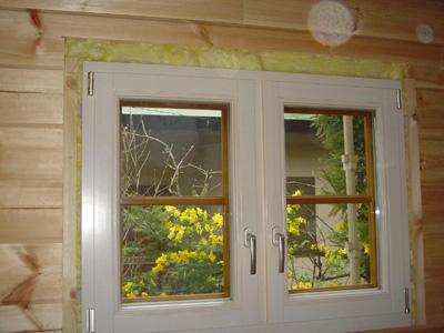 那須塩原市F様邸ログハウス木製ペアガラス窓