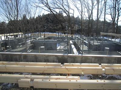 足場が組まれ、 ログ材が搬入されました。