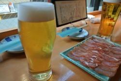 生ビールと生ハム