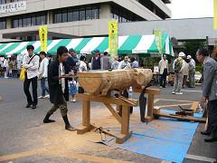 木挽き職人の実演