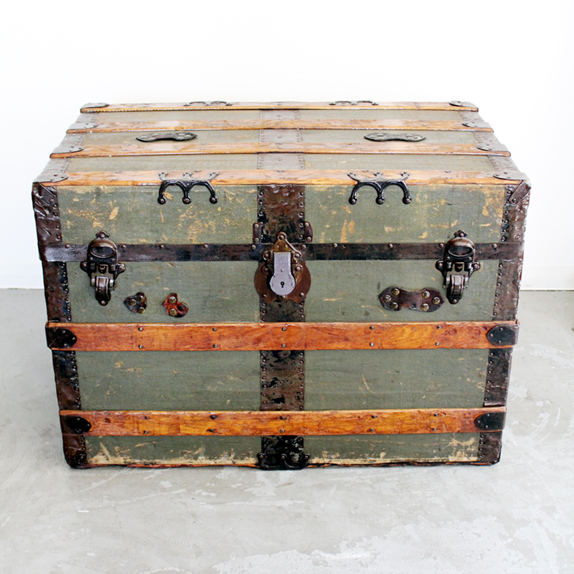antique trunk with new handle big!!