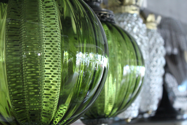 VINTAGE PENDANT LAMP GREEN GLASS