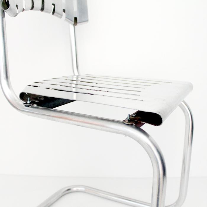 ヴィンテージのアルミのサイドチェア 座面