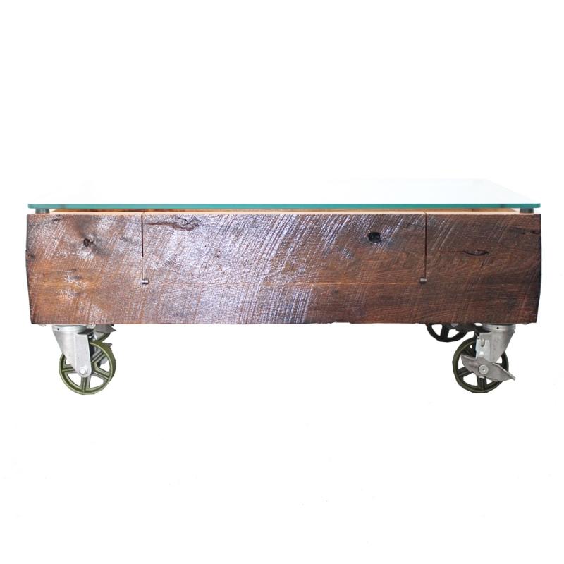 オリジナルガラストップカートテーブル