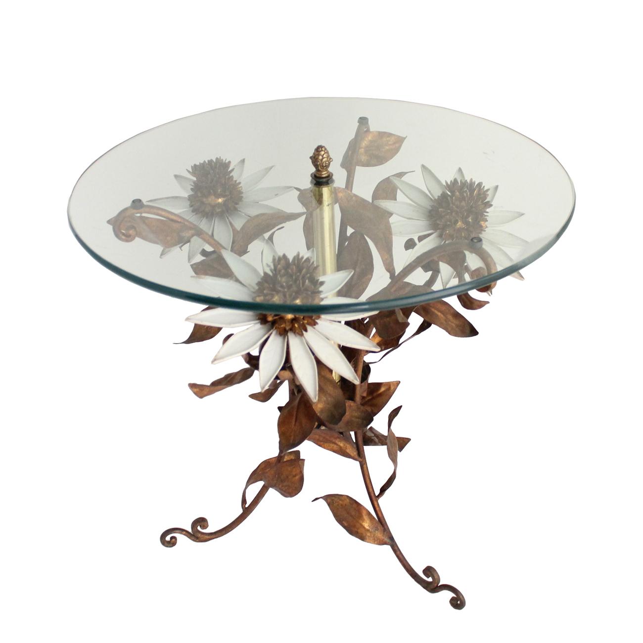 ヴィンテージのサイドテーブル ガラストップ