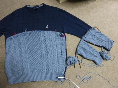 夫のセーター 進捗2