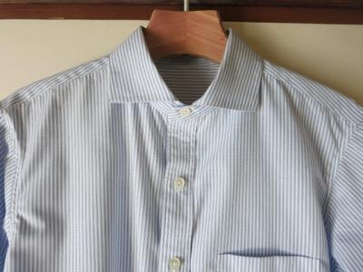 夫のワイドスプレッドカラーのシャツ1号