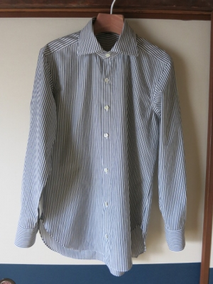 ロンドンストライプのワイドスプレッドカラーシャツ