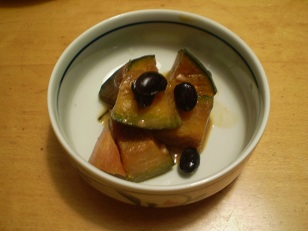 カボチャと黒豆とニンジンの煮物
