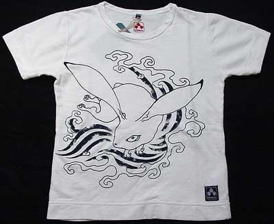 ちきりやインレイTシャツ「荒波兎」