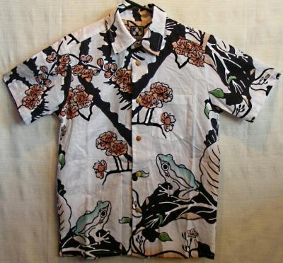 ちきりや手拭いシャツ『梅蛙』