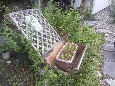 台風で壊れた入口のラティス