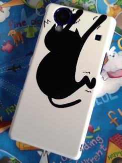 KYV32【ケース de ばっちり!スマートフォン写真】ふんばるネコケース2