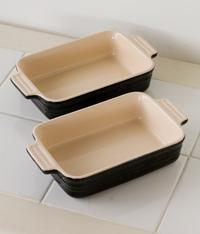 未使用,LE CREUSET,ル・クルーゼ,Rectagular,Dish,レクタンギュラー・ディッシュ,19cm,ブラック,2枚,セット