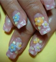 水玉とお花☆ジェルネイル