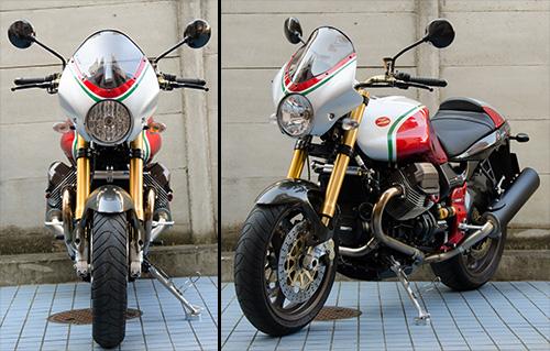 MotoGuzzi V11 Coppa Italia 金色と触角ミラー