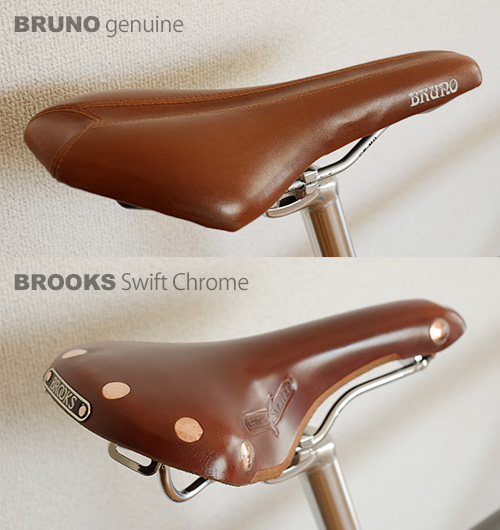 BRUNO純正シートとBROOKS Swift Chrome/斜め後