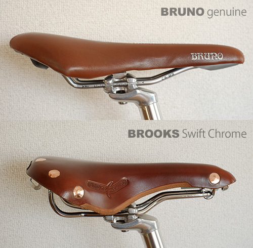 BRUNO純正シートとBROOKS Swift Chrome/横から